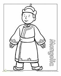 Kid Worksheets Multicultural Coloring Mongolia