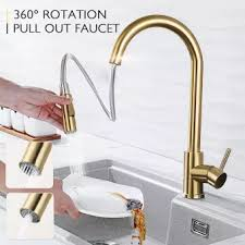 Diy Kitchen Faucet Kitchen Tools Diy Sink Faucets Brushed Gold Kitchen Faucet Pull Out Water Tap Single Handle Mixer Tap 360 Rotat
