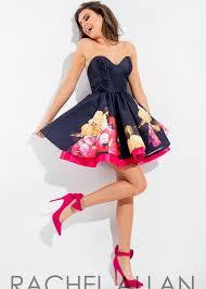 allan 4327 sweet strapless floral short dress
