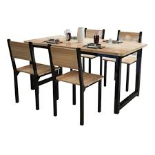 FF Black Steel Dining Table With Chairs (1+4)Brown | Go Shop Knocker Back Ding Chairs Steel Table Set Dporticus 5piece Ding Set Industrial Style Wooden Kitchen Table And Chairs With Metal Legs Espresso Stone 4 Chair Source Exclusive Stools Tables In Toronto Silver Shine Bright Fniture Costway 5 Piece Wood Breakfast Room Sets Rustic Frame Brown Ex Archibalds Walnut Brushed Extendable 6 X Aberdeen Gumtree Details About Tempered Glass Top Fashion Steel Pcs Circular Glass Top Stainless Base White Cramond Edinburgh Us 14299 Shipping W4 Black Whitein From On