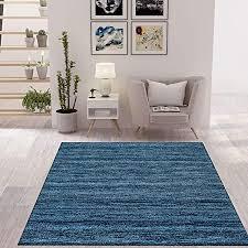 vimoda wohnzimmer teppich modern dunkel blau kurzflor