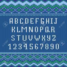 Scandinavian Ornament Font Vector Knitting Letters Norway