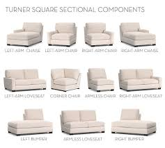 Pottery Barn Turner Sectional Sofa by Build Your Own Turner Square Arm Upholstered Sectional