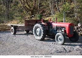 Old Red Grey Farm Tractor Flatbed Trailer