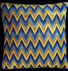 Rare Maize Blue Flame Bargello Counted Needlepoint Pillow Kit