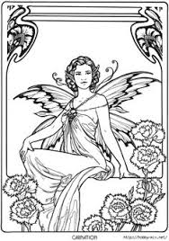 Carnation Fairy Fae Fantasy Myth Mythical Mystical Legend Elf Wings Elves Faries Coloring Pages Colouring
