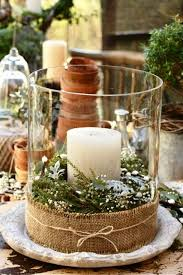 Jar With Flowers And Greeneries Top It A Pillar Candle Wrap Burlap Ribbon On The Base Put Display Your Rustic Christmas Decoration