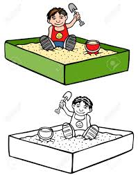 Kid In A Sandbox Colored And Black White Illustration Stock Vector