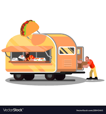 100 Mexican Food Truck Workers In Mexican Food Truck Royalty Free Vector Image