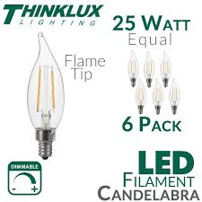 25 watt equal led filament candelabra light bulb c11 earthled