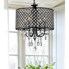 Lumos Antique Black 4 Light Round Crystal Chandelier Drum Pendant Ceiling Lighting Fixture For Dining Room Living