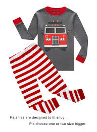 100 Fire Truck Pajamas Little Boys Long Sleeve 100 Cotton Clothes