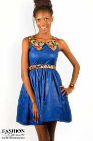 Skater Dress With Print Collar By Ekwiaba Colors