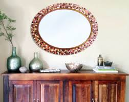 Brown Mosaic Bathroom Mirror by Blue And Gray Mirror Oval Mosaic Mirror Bathroom Decor