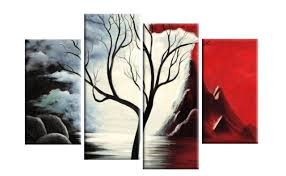 New Beginnings Red Black White Tree Landscape Abstract 4 Panel Canvas Wall Art Print