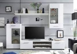 details zu anbauwand wohnwand wohnzimmer schrankwand hochglanz weiß tv wohnlösung