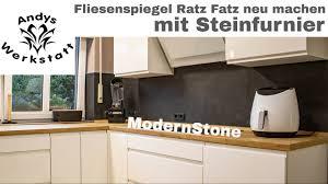 wie geht das küche fliesenspiegel schnell renovieren erneuern mit steinfurnier