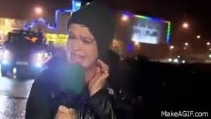 STOP SIGN HITS NEWS REPORTER EXTREME WINDS FUNNY