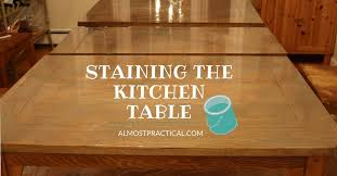 how to stain a wood veneer kitchen table top a refinishing diy
