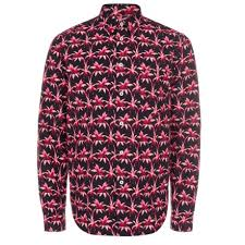 paul smith men u0027s black and pink u0027ink palm u0027 print shirt in pink for