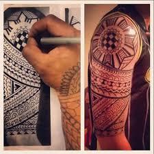 Half Sleeve Before And After Filipino Sun Tribal Hawaiian Tattoo