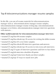 Part 29 You Can See Some Sample Resumes From Our Website Rh Barcelonajerseys Net Telecom Manager Resume Examples Implementation