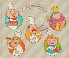 Illustrated Team Of Various Proud Chef Characters Colored In Pastel Tones Smiling And Enjoying Their Job The Restaurant Kitchen