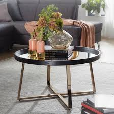 wohnling design couchtisch rund ø 78 cm dunkel gold mit spiegel glasplatte wohnzimmertisch schwarz metall gestell großer beistelltisch