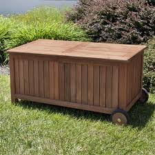 4 ft teak outdoor storage bench on wheels outdoor