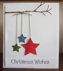 Christmas Wishes Card With Three Stars Hanging From A Branch Sweet And Simple Have To Try Variations On This Theme GeorgannaLouise Cards