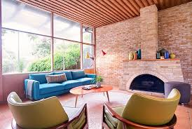 View In Gallery Harris Sofa Gorgeous Blue For The Midcentury Family Room Design Nest Modern
