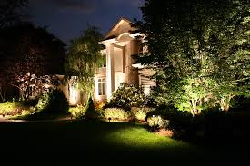 Excellent Night Atmosphere With Outside Landscape Lighting Ideas On The Front Yard Of Luxury House Complete Lawn Planted Various Kind Small