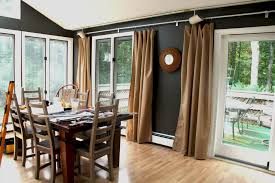 Charming Brown Fabric Sliding Dining Room Curtains For Glass Door Inside Ideas
