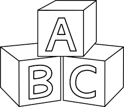 Svg Black And White Library Blocks Clipart Colorable Abc Baby Embroidery