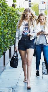 gigi hadid in high waisted denim shorts denimology