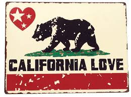 California Love Bear State Flag Vintage Metal Sign