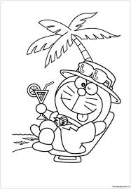 Doraemon In A Chilling Mood Coloring Page