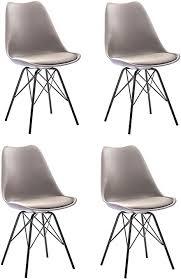 sam 4er set schalenstuhl lerche taupe integriertes kunstleder sitzkissen schwarze metallfüße esszimmerstuhl im skandinavischen stil