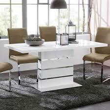 details zu esstisch antonia ausziehtisch in weiß hochglanz und chrom esszimmer tisch