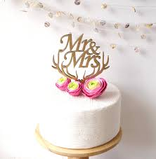 Mr And Mrs Cake Topper Wedding Wooden Rustic
