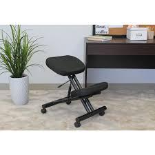 Ergonomic Kneeling Posture Office Chair by Boss Black Ergonomic Kneeling Stool B248 The Home Depot