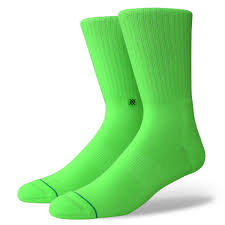 Details About STANCE SOCKS NEW Men's Icon Anthem Socks Florescent Green BNWT