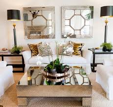 Slipcovered Furniture Animal Print And Mirrored Coffee Table I Would Do A Rustic Wooded More Gold In The Roomthrows Or Pillows