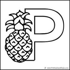 Alphabet Coloring Page Letter P Pineapple Printables For Kids Free Word Search Puzzles