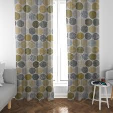 schöner leben vorhang vorhangschal mit smok schlaufenband creme kreise in grau braun 245cm oder wunschlänge