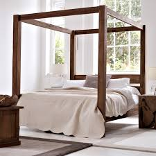 White Full Size Canopy Bed Frame Bed and Shower Full Size