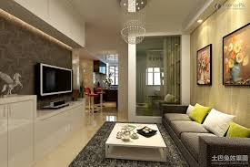 Modern Apartment Living Room With Tv Small Sofa TV Background Wall