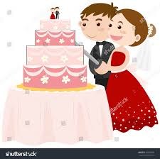 Bride and groom cutting wedding cake illustration