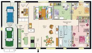plan maison plain pied 3 chambres en l modèle de plan de maison plain pied avec 3 chambres et garage 2
