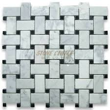 carrara white 1x2 basketweave mosaic tile w black dots polished